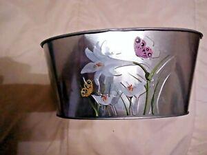 Silver Tin Planter