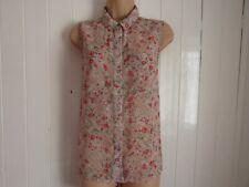 New Look Floral Print Sleeveless Dip Hem Shirt - Size 14