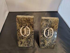 GraniteStone Bookends  Handcrafted stone bookends beautiful Impala black granite