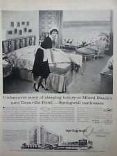 1958 Springwall Quiltress Mattress Maid Bed Deauville Hotel Miami Beach Ad