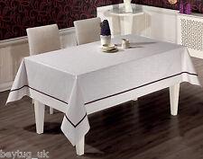 "Large Rectangular White Poly Cotton Tablecloth 160 x 220CM (63"" x 86"") Floral"
