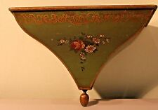 VINTAGE GREEN METAL TOLEWARE WALL SHELF MADE IN FRANCE