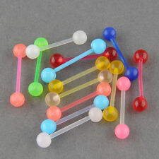 7pcs Glow Ball Tongue Bars Rings Body Piercing Belly Navel Button Stud