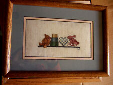 Special Sale/ Completed/ Cross Stitched/ Rabbits/ with heart/ on the shelf/