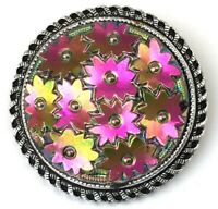 VINTAGE SCARF CLIP HOLDER WESTERN GERMANY IRIDESCENT GLASS FLOWER CABOCHON