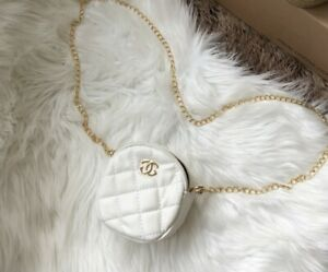 Round Mini Quilted Matelasse Logo Bag with Chain in White with Gold hardware