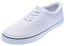 MENS LACE-UP WHITE CANVAS SMART CASUAL DECK SHOES TRAINERS PUMPS SIZES 6-11