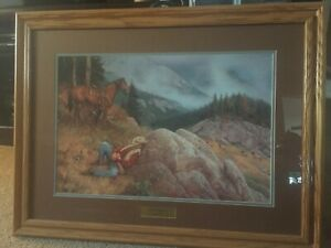 FRAMED SIGNED AND NUMBERED THE ELK HUNTER BY HAYDEN LAMBSON