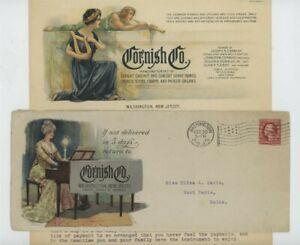 Mr Fancy Cancel 2c COLOR ILLUSTRATED AD COVER CORNISH PIANO ORGANS WASHINGTON NJ