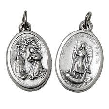 Ciondolo medaglia ovale in metallo argentato con Santa Rita e San Raffaele