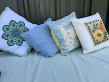 4 patterned cushions blue yellow green orange lot BRE290619Hp