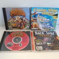 Lot Of 4 PC Tycoon Games School Health & Fitness Club Cruise Ship Rock Tour