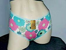Vtg Q100 Panties Briefs S-M Shiny Floral Print Nwt Flattering Shaping Pantie Hot