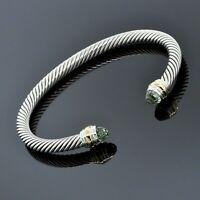 David Yurman Silver/14K Yellow Gold 5mm Prasiolite Cable Classic Cuff Bracelet