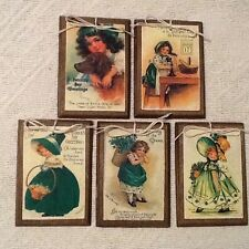 5 Wooden St. Patrick's Day Ornaments/Irish Hang Tags Handcrafted Set70