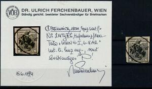 ÖSTERREICH 1850 2Kr, TIEFSCHWARZ, MP, Type III.b, WIEN. Dr.Ferchenbauer BEFUND!