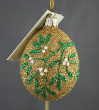 Patricia Breen Mistletoe Egg Rare Gold Sparkle Red Heart With Tag