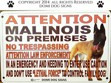 """Metal Attention Malinois Dog Sign For FENCE ,Beware Of Dog 8""""x12"""""""