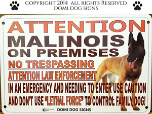 "Metal Attention Malinois Dog Sign For FENCE ,Beware Of Dog 8""x12"""