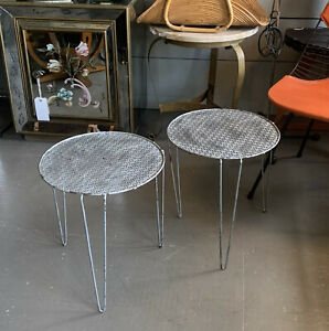 Vintage Mid Century Proforated Metal Side Tables Matégot Era