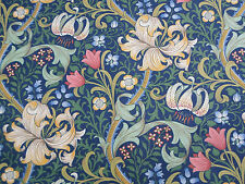 William Morris Curtain Fabric 'Golden Lily' 2.8 METRES  Midnight/Green Linen