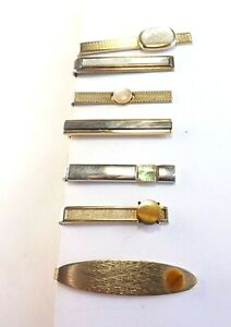 Job Lot 7 Tie Clips Tie Pins Vintage MOTHER OF PEARL, ABALONE and TIGER'S EYE