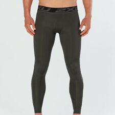 2Xu Mens Accelerate Print Compression Tights Running Bottoms Pants Green