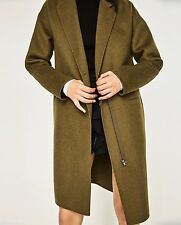 ZARA LIGHT KHAKI ZIP UP COAT WOOL JACKET XL LARGE 12 14 16 BLOGGERS 5854/228