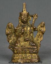 """3,6 """"Alte Tibet Bronzevergoldung Guru Padmasambhava Rinpoche Buddha Skulptur"""