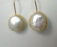 Keshi Perlen weiss Ohrringe, 925 Silber vergoldet
