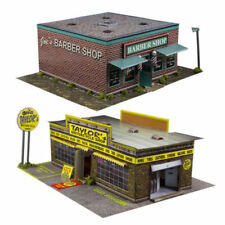 1 87 Train HO Scale Model Building Combo Kit X2 Motorcycle & Barber Shop