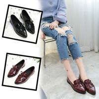 Fashion Women Bow Tassel Loafers Pointed Toe Flats Low Heel Casual Shoes Slip On