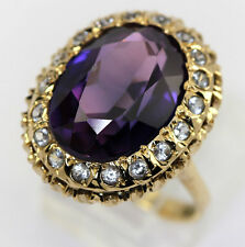 Amethyst white quartz ring 18K yellow gold oval rounds halo 8.45CT 9.5GM sz 6.25