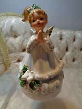 "Vintage Josef Originals Christmas Angel Music Box figurine plays ""Silent Night"""