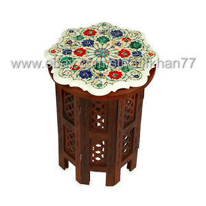 Premium Side Table Marble Inlay Sofa Corner Table Multicolor Gemstone Table