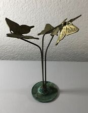 "Vintage Brass Butterfly Desk Art Sculpture W Base Retro Kinetic 10"" Tall Moving"