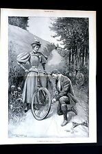 Bicycle Repair 1896 FRIEND in NEED Victorian Boy Girl Centerfold Print w STORY