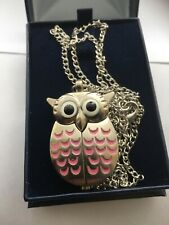 Women's Analogue Quartz  Arabic Dial Owl Pendant Watch with chain & box