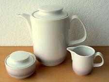 Kaffeekanne + Zuckerdose + Milchkännchen, weiß mit dezentem Design, CP GDR DDR