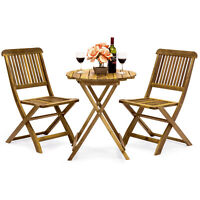 BCP 3-Piece Acacia Wood Bistro Set w/ Folding Table and Chairs