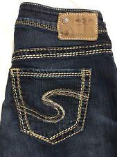 Silver Suki Jeans Size 26/31 High Rise Straight Leg Dark Distressed Stretch EUC