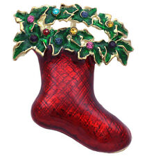 Red Christmas Stocking Wreath Brooch Pin Necklace Pendant Women Jewelry p45