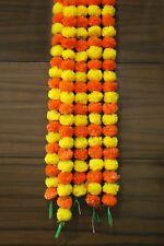 Twin Color Marigold Flower Set of 5 Pcs Garlands 5 Feet Decoration Home Decor