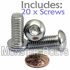 M10 x 25mm - Qty 20 - A2 Stainless Steel BUTTON HEAD Socket Cap Screws  ISO 7380