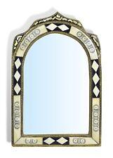 Large Ornate Arch Moroccan Mirror diamonds insert - white Henna 80 cm