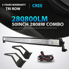 "50""inch 2808W TRI-ROW Curved LED Light Bar +Mount Bracket For Ford F250/350/450"