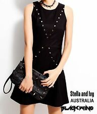 BLACK STUDDED MINI GOTHIC PUNK DRESS SIZE 8 AU WOMENS NEW