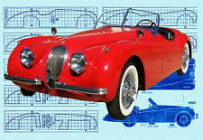 Build a vintage 1:12 scale Jaguar XK 120 Electric power or Display Printed Plans