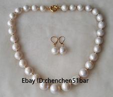 schöne 10-11mm weiß rund Edison Perlenkette Ohrringe Set