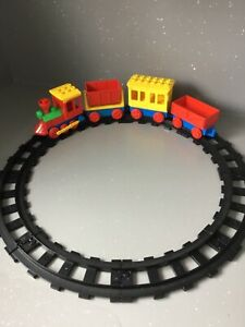 Lego Duplo Vintage Black Track and Push along Train with trucks and carriage.